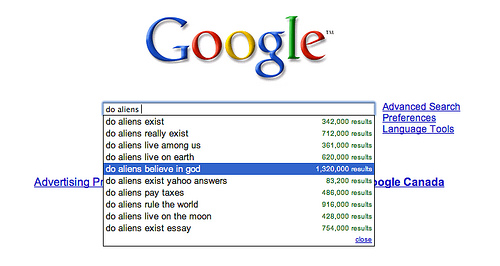 filling in for google i do things do aliens